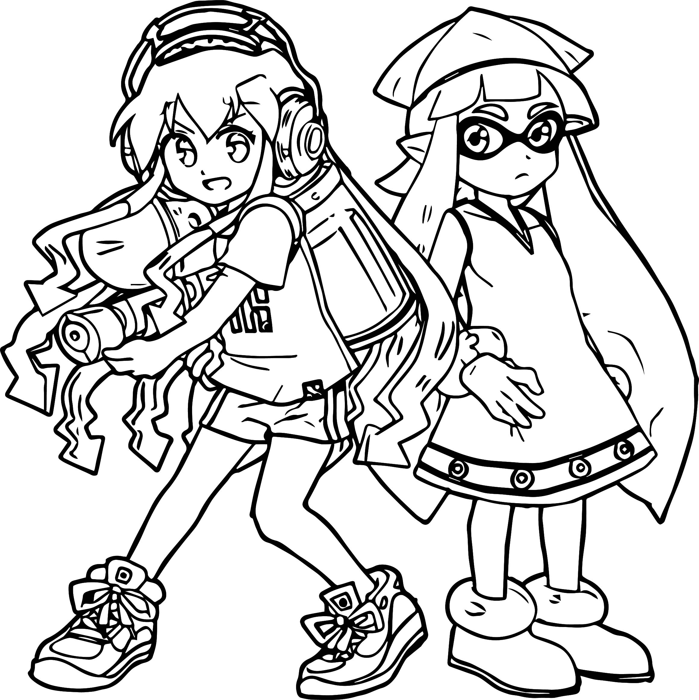 Squid Two Girl Coloring Page