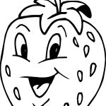 Strawberry Cartoon Smiling Coloring Page