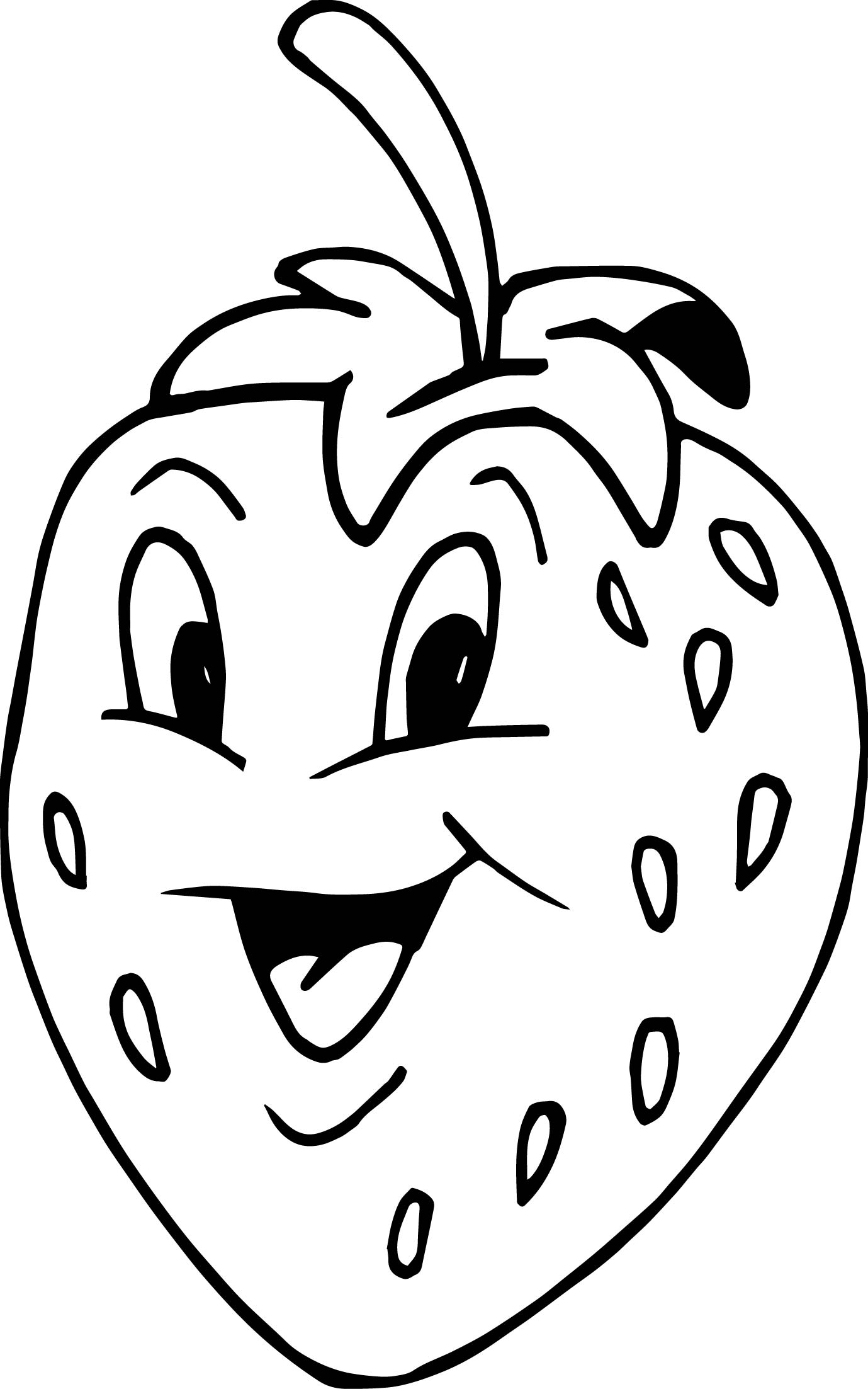 Cartoon Apple Coloring Pages : Strawberry cartoon smiling coloring page apple