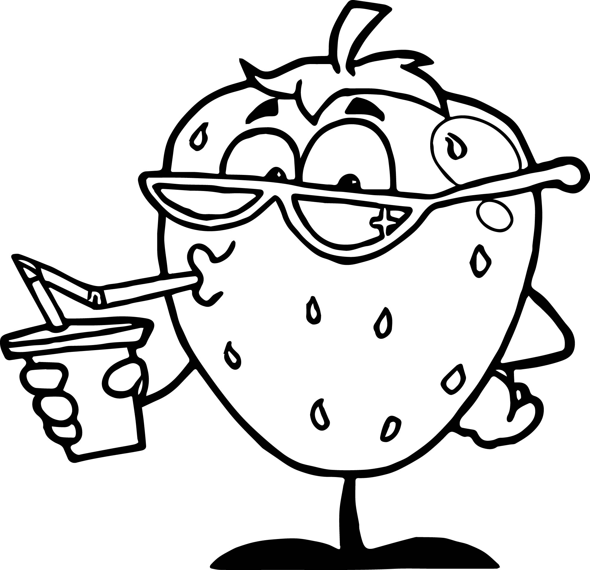 Strawberry Drink Cartoon Character Coloring Page