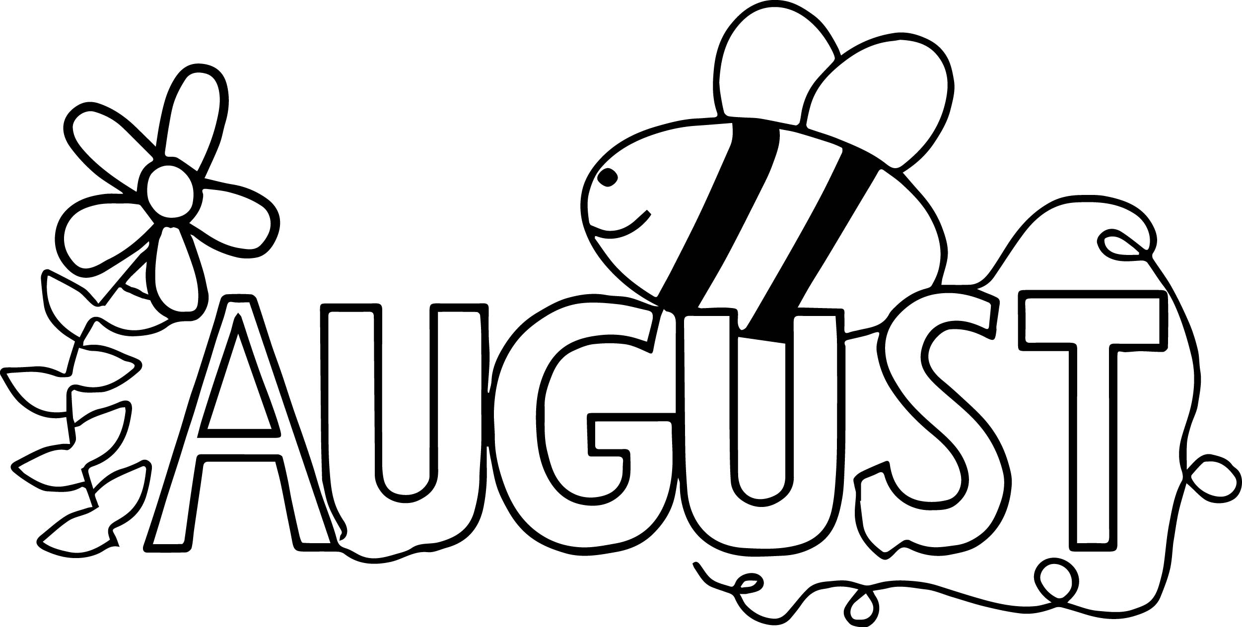 Summer August Bee Coloring Page