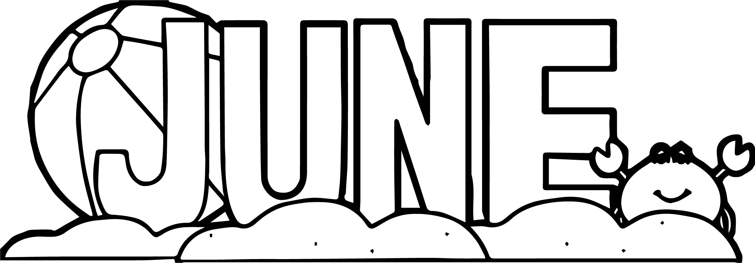 Summer Ball And Text Coloring Page