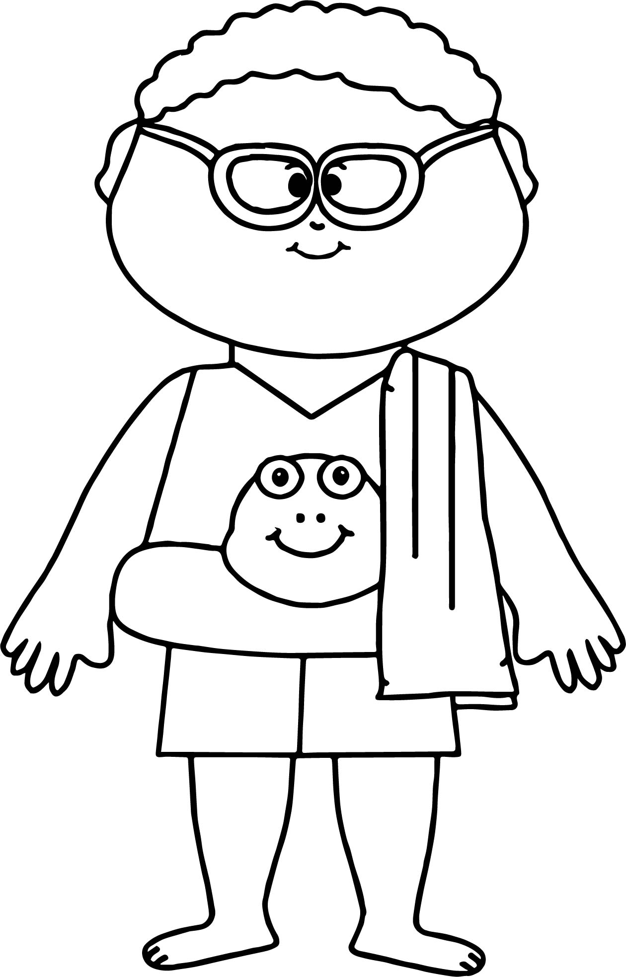 Summer Boy Coloring Page
