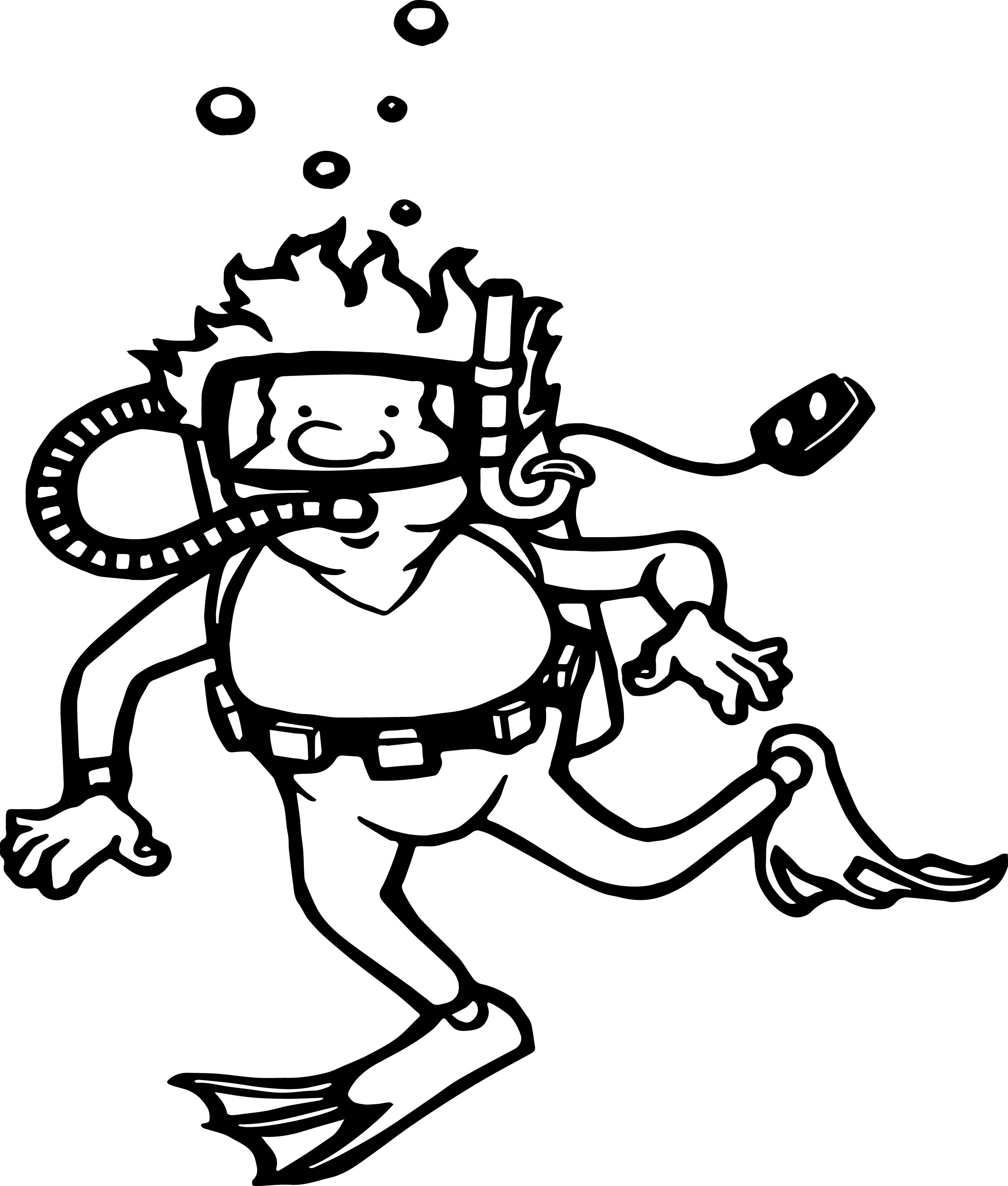 Summer Diver Coloring Page