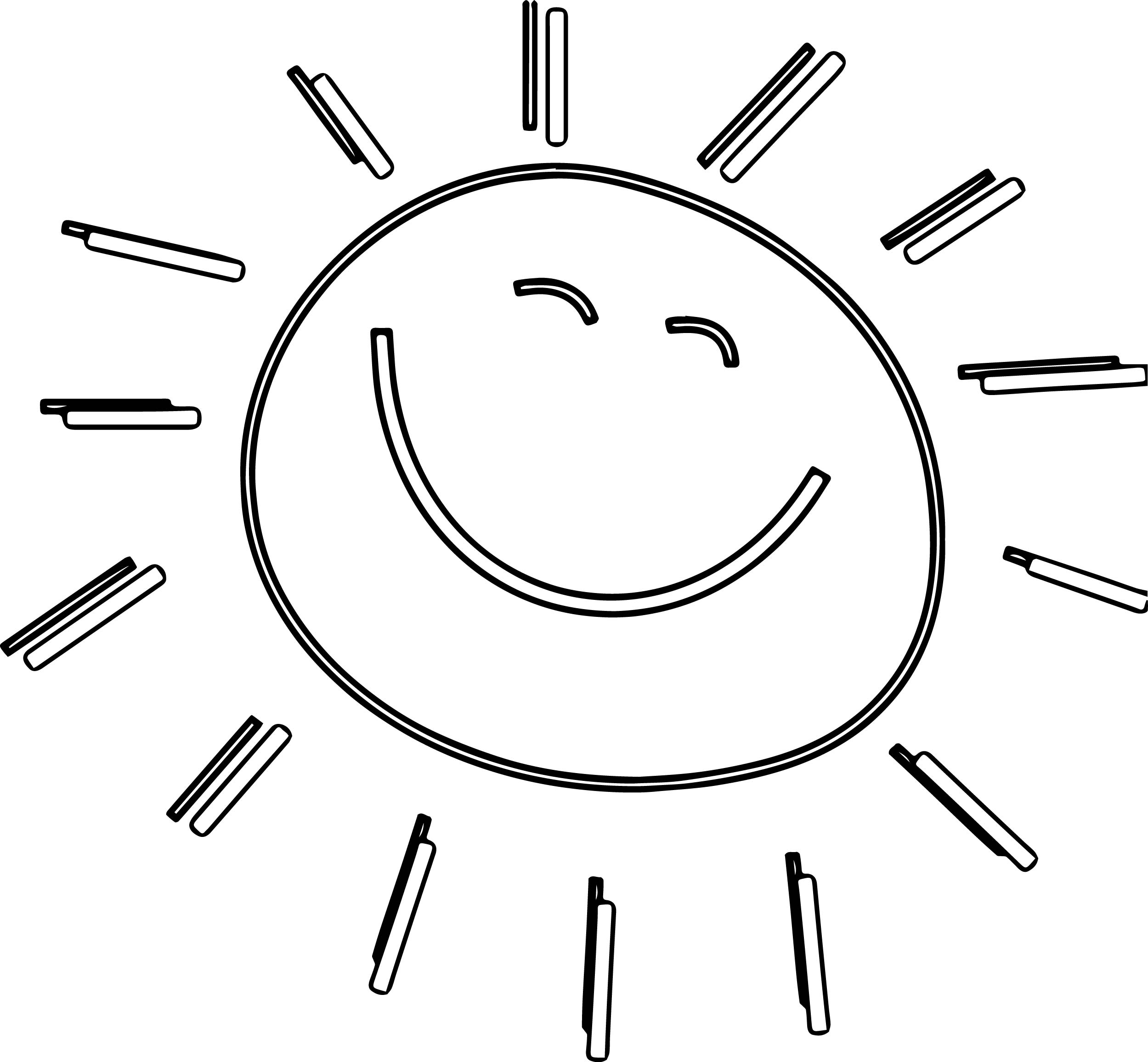 Summer Funny Happy Sun Coloring Page Wecoloringpage