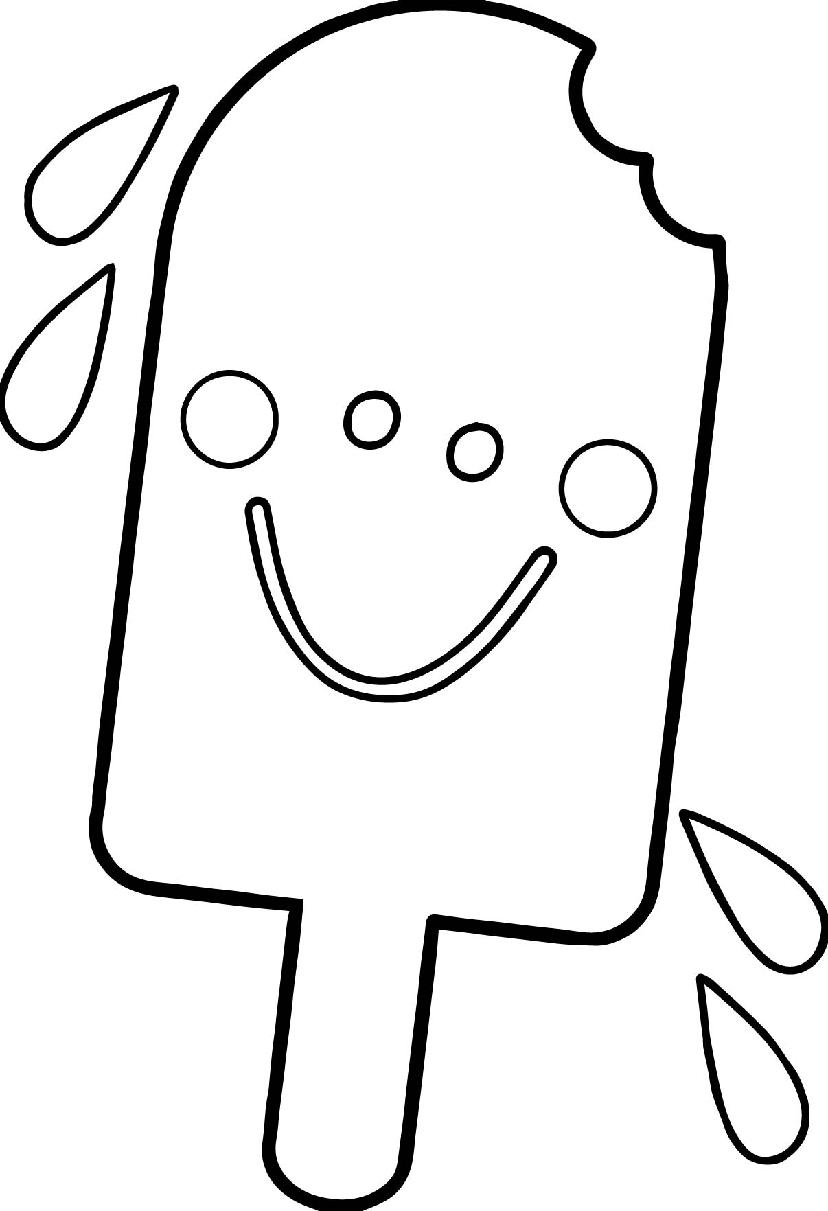 Summer Happy Cartoon Ice Cream Coloring Page