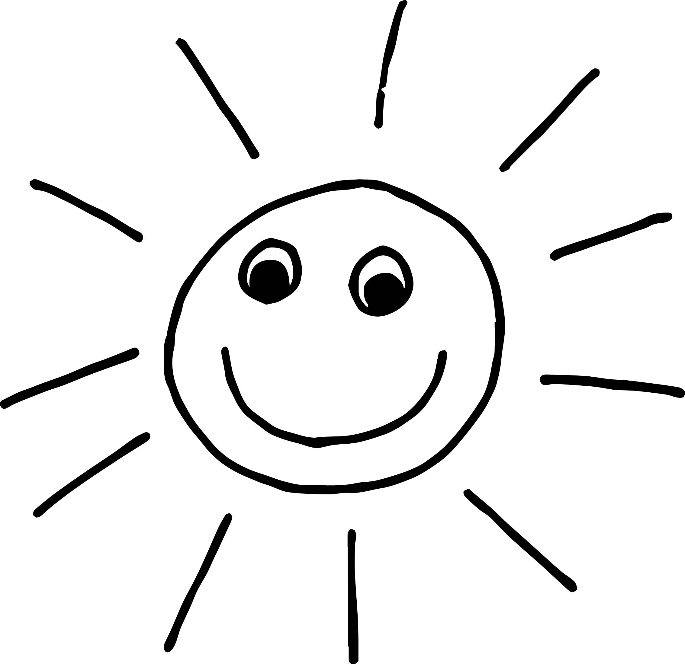 Summer Happy Kids Sun Free Coloring Page