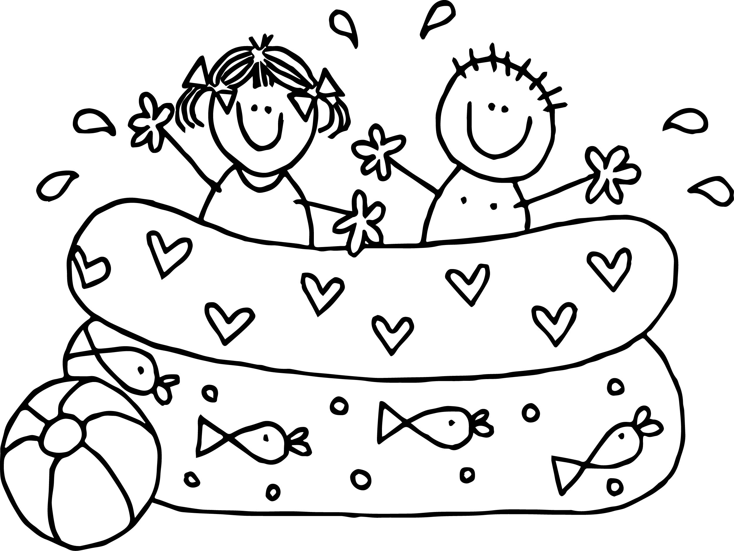 Summer Kids Boy Girl Playing Pool Coloring Page