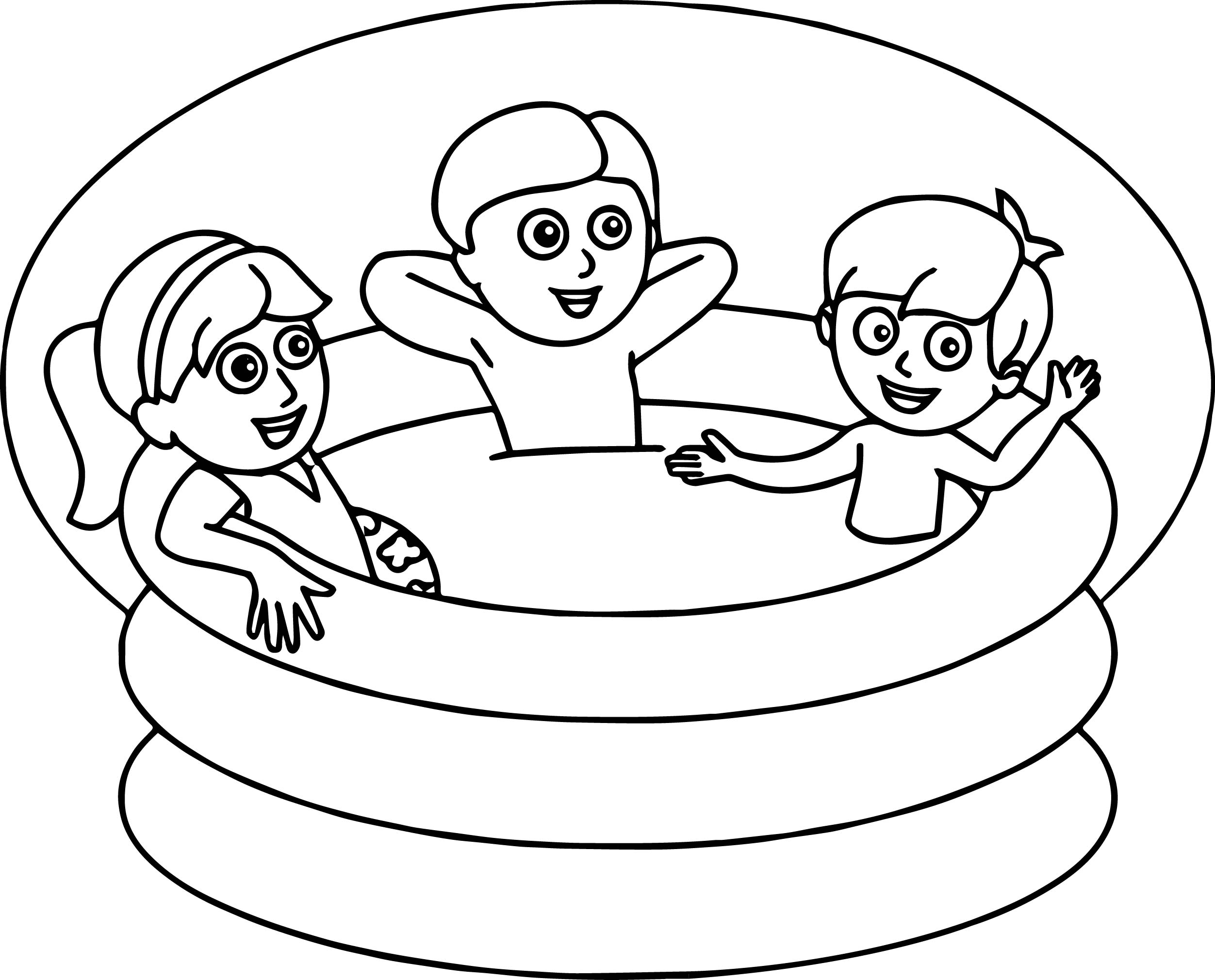 Summer Kids Pool Coloring Page