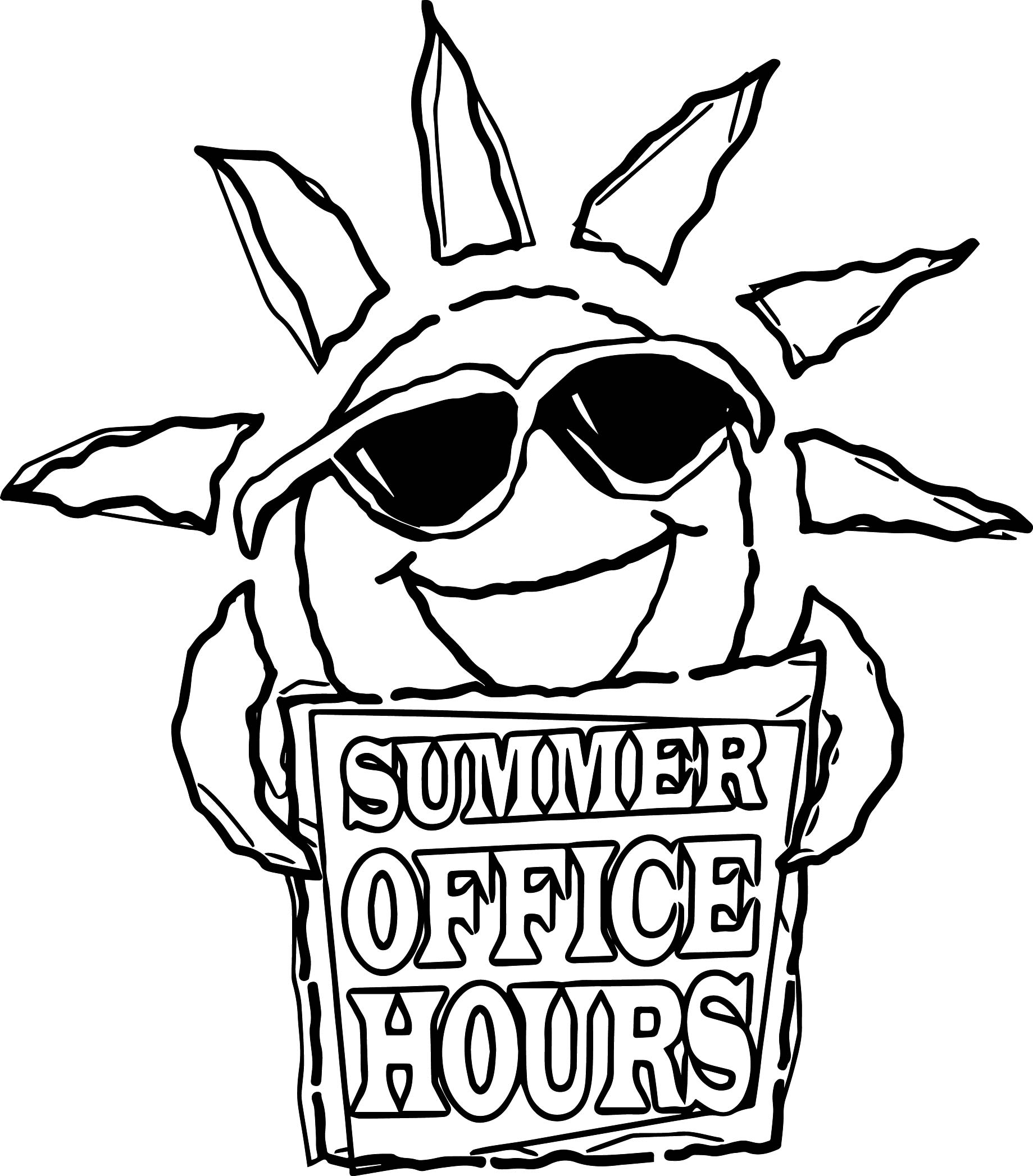 Summer Office Hours Sun Coloring Page