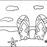 Summer Slipper Beach Coloring Page