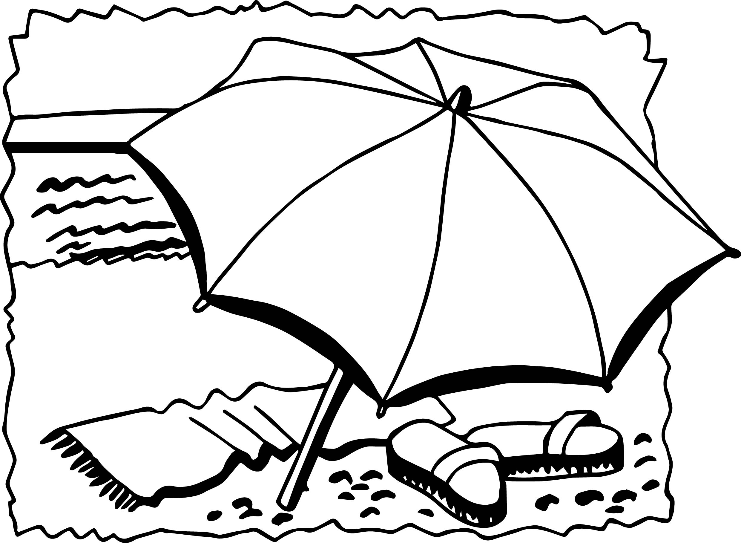 Summer umbrella slipper coloring page for Umbrella coloring pages