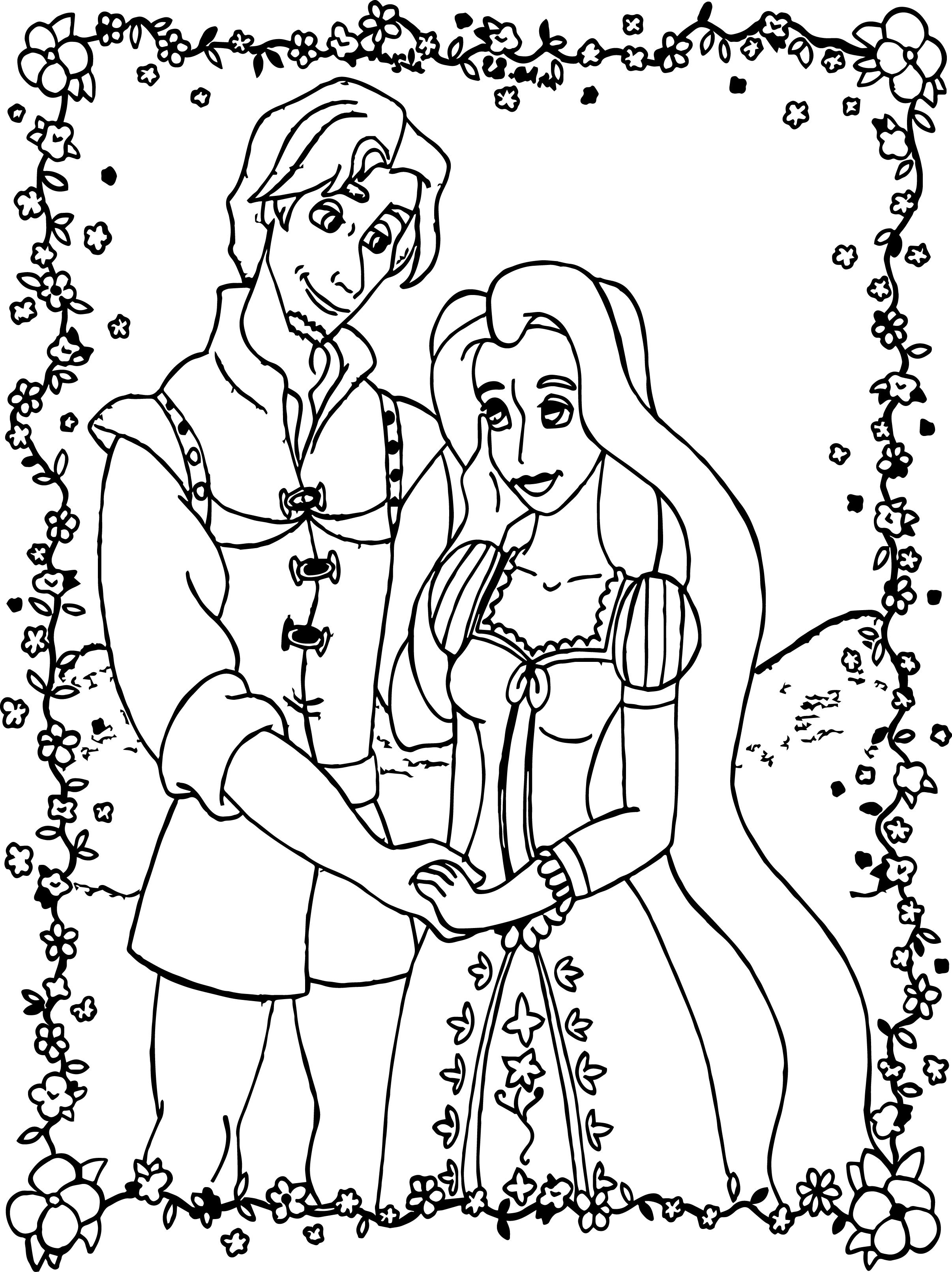 Tangled Rapunzel And Flynn Coloring Page