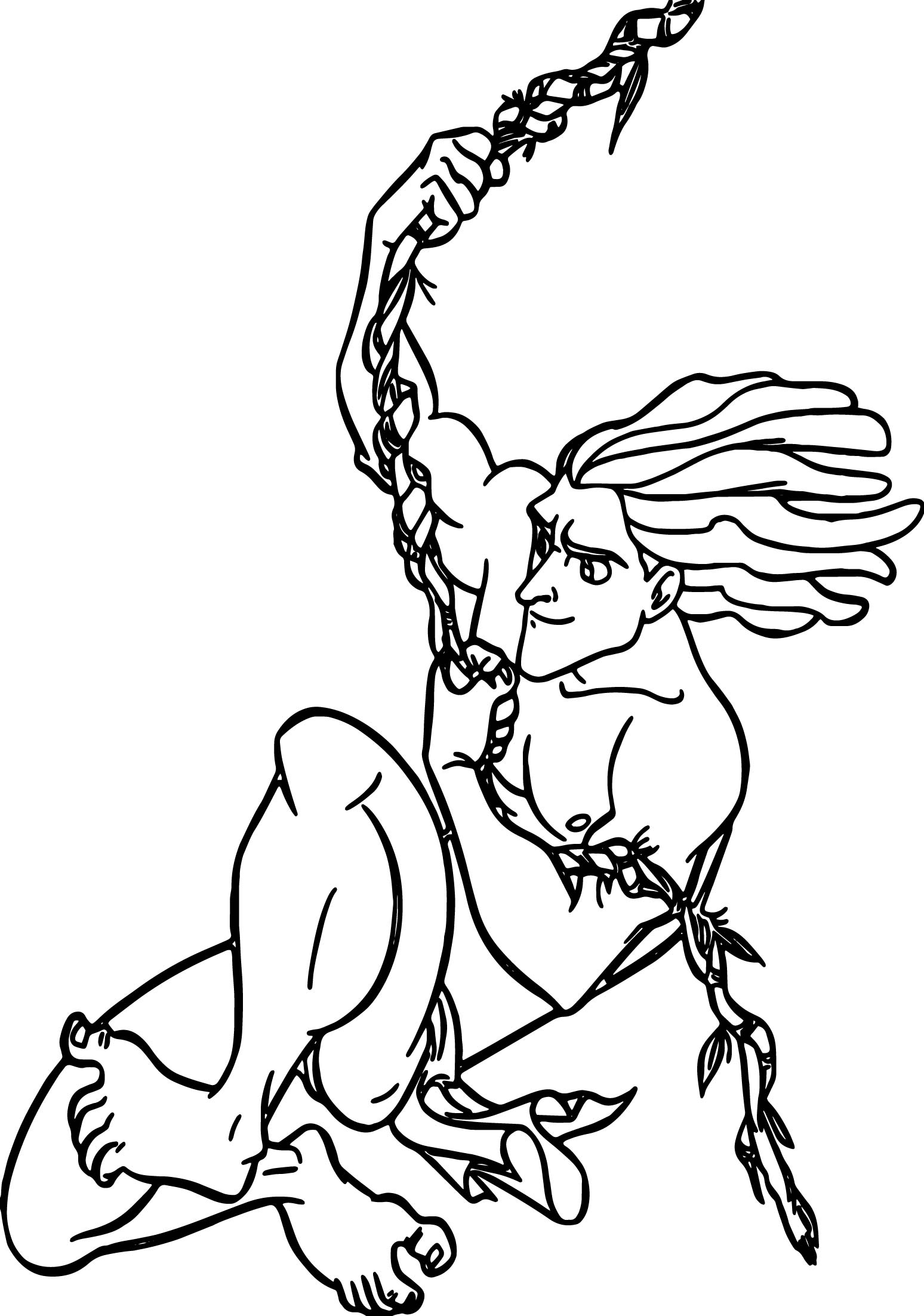 Tarzan Vine Rope Coloring Page