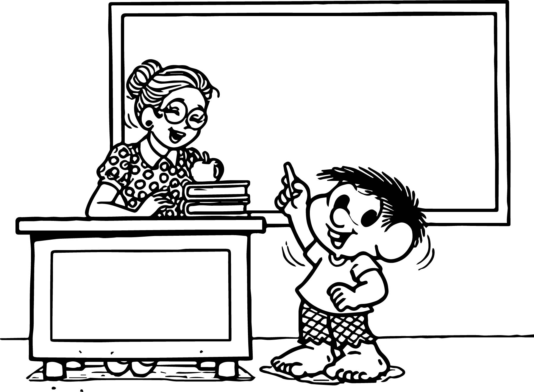 Teacher And Boy Monica Coloring Page