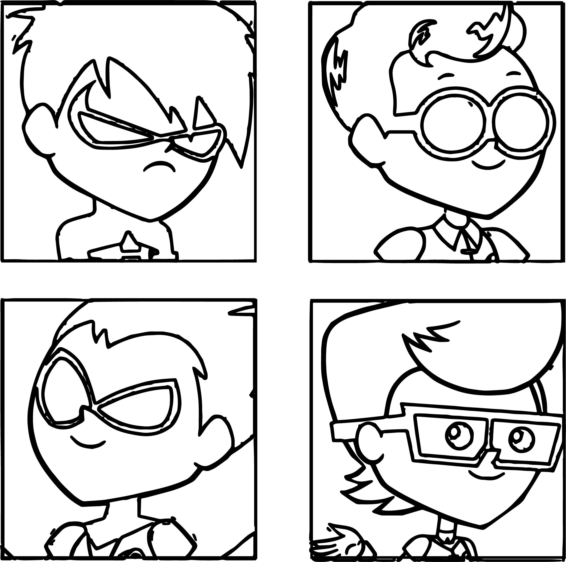 Team Robin Members Teen Titans Go Coloring Page