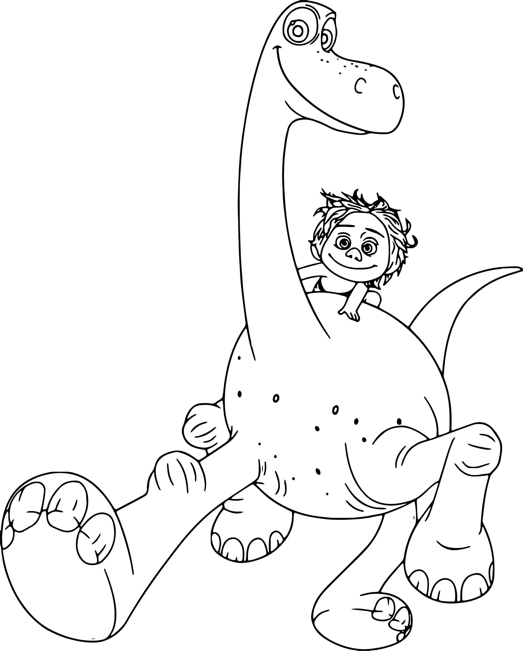 dinosaurs color pages - the good dinosaur disney arlo spot with cartoon coloring