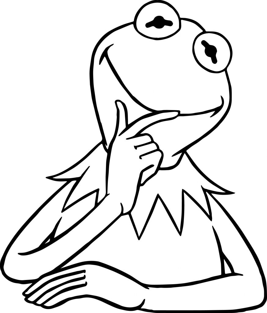 free kermit the frog coloring pages   The Muppets Kermit The Frog Think Coloring Pages ...