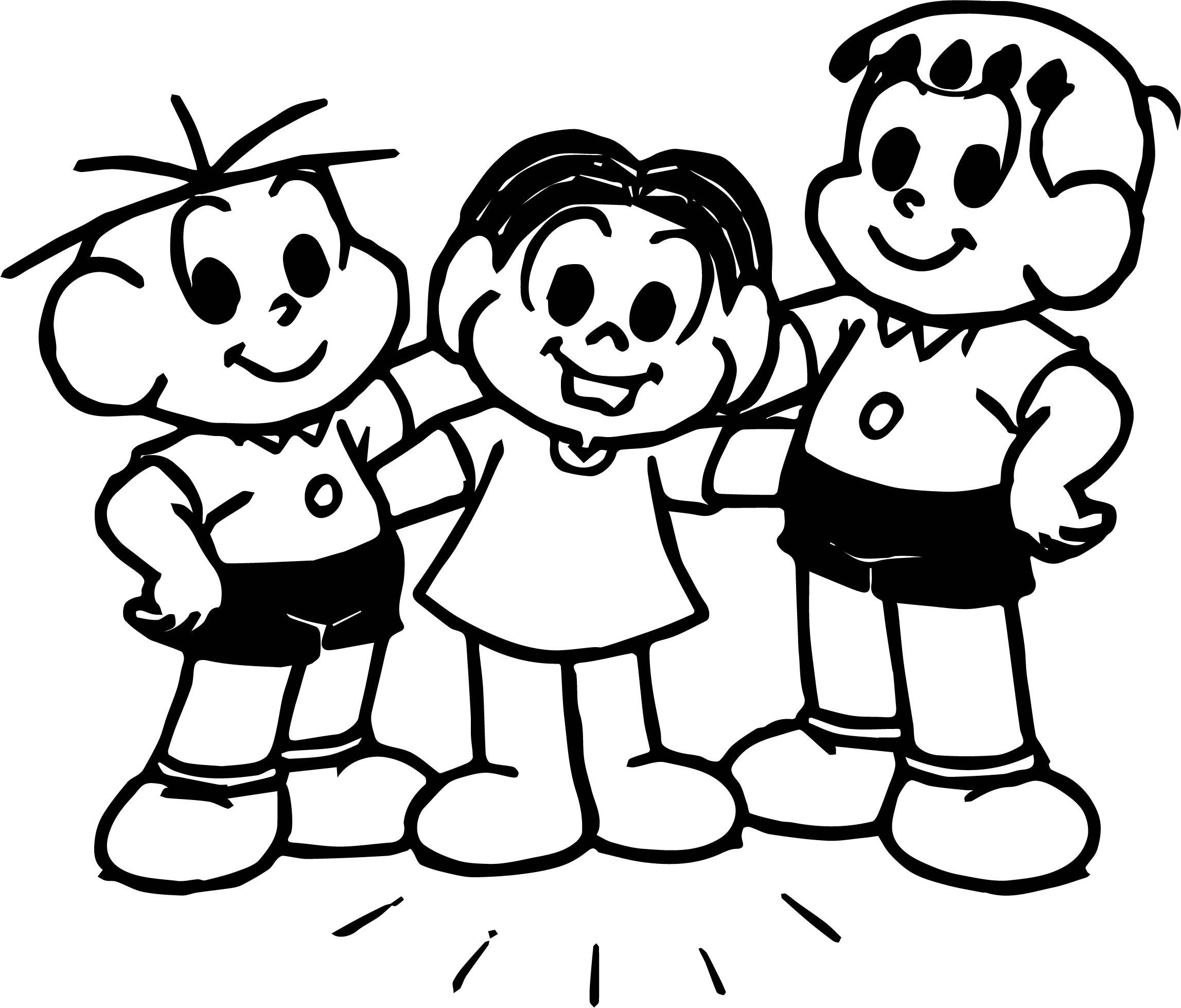 Three Boy Turma Da Monica Coloring Page