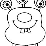 Three Eye Two Tooth Alien Coloring Page