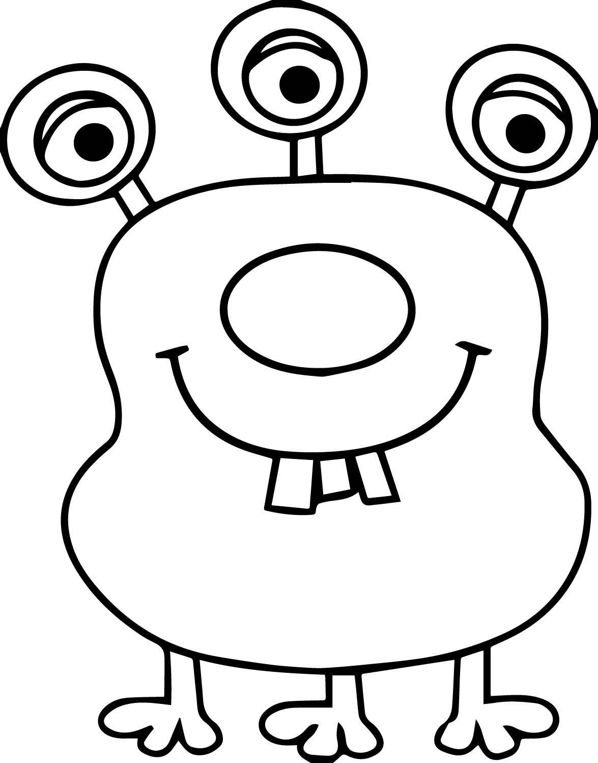Three eye two tooth alien coloring page for Eyeball coloring pages