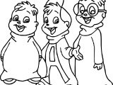 Three Friends Alvin And Chipmunks Coloring Page