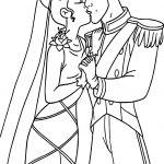 Tiana Naveen Wedding Kiss Coloring Page