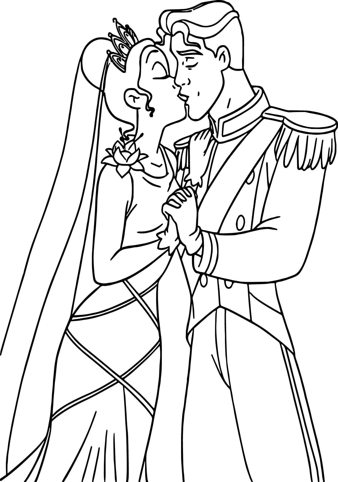 tiana naveen wedding kiss coloring page
