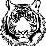Tiger Realistic Head Coloring Page