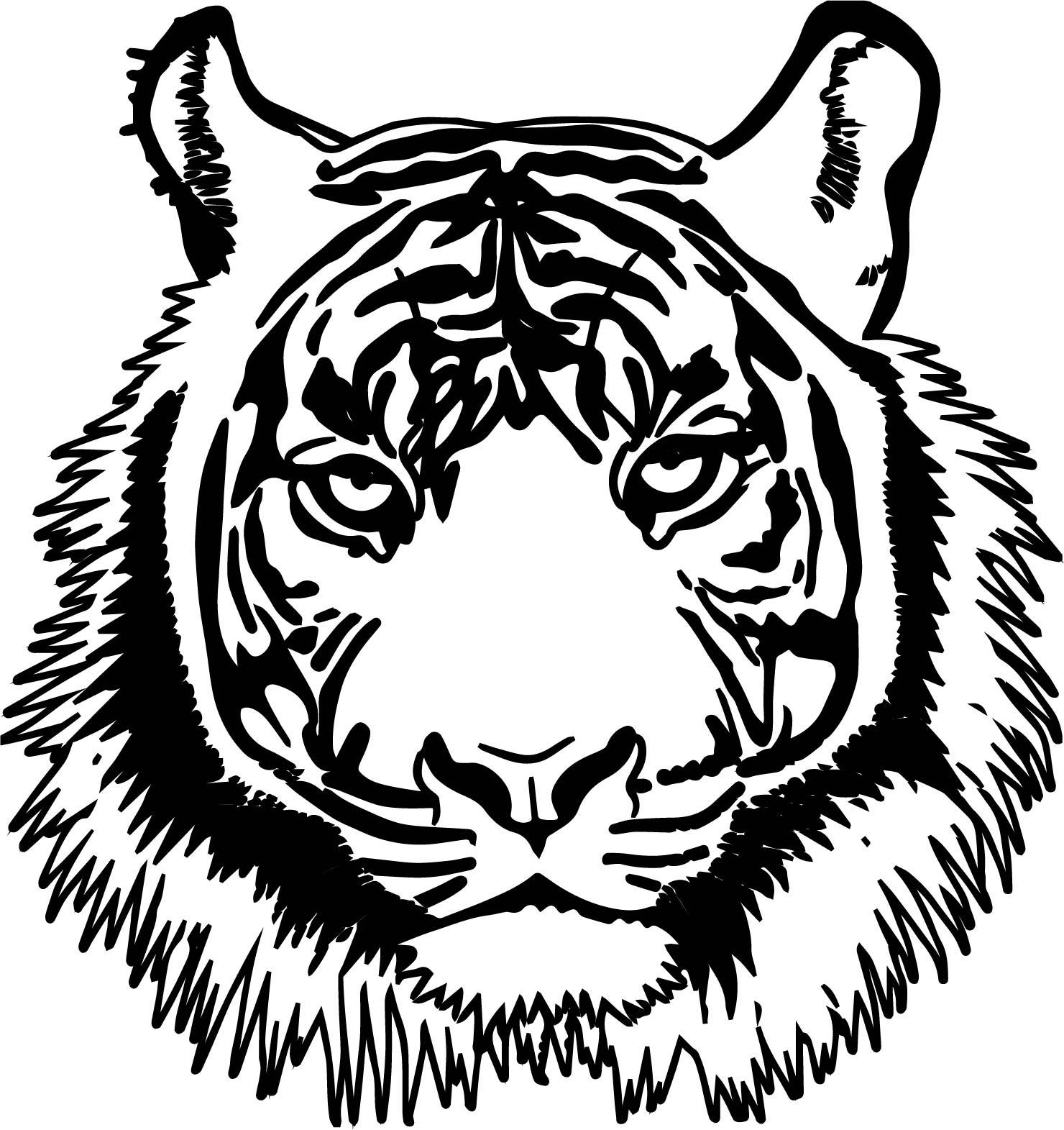 Tiger Realistic Head Coloring Page