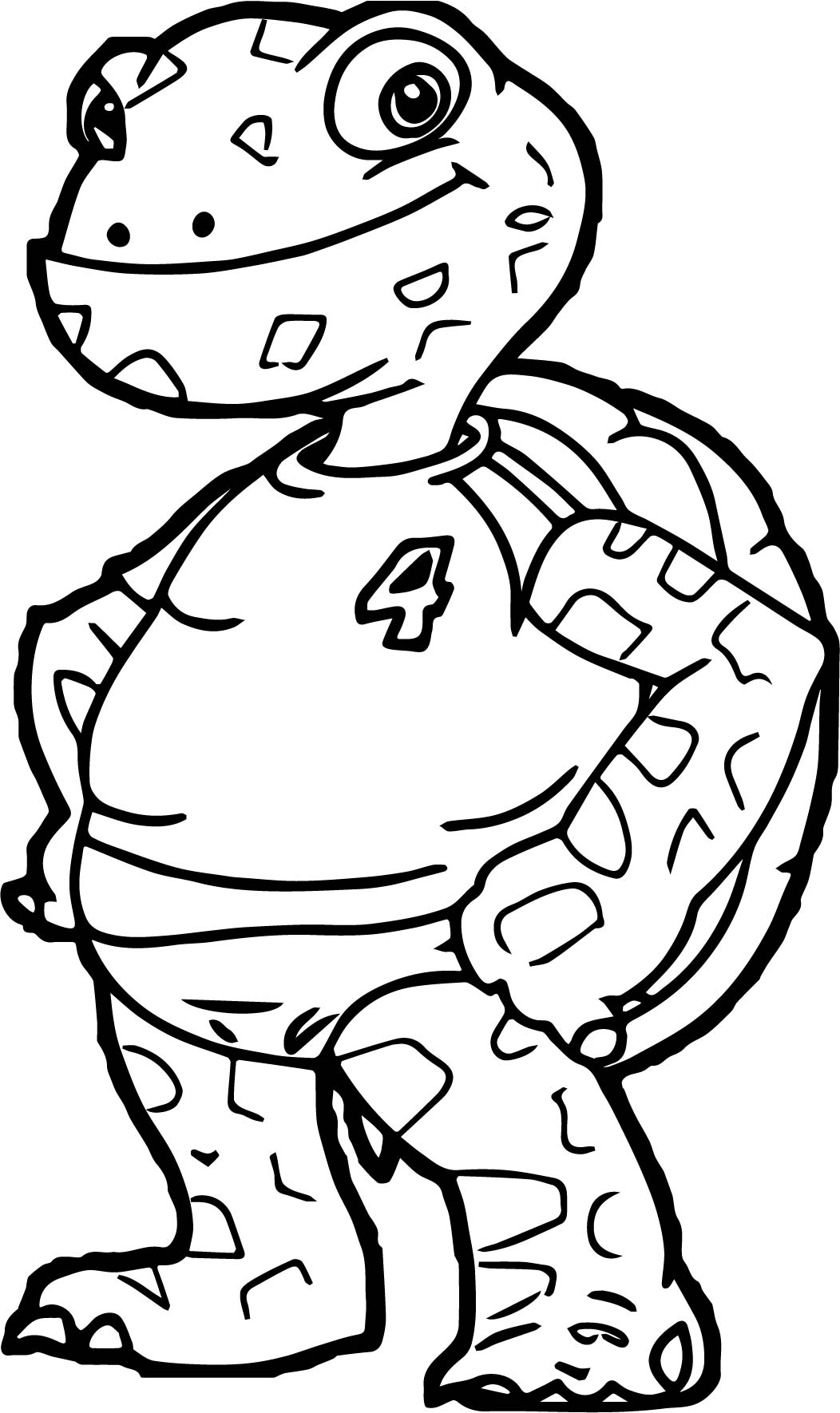 Tortoise Turtle Four Number Coloring Page