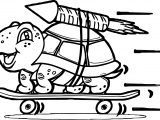 Tortoise Turtle Skate Rocket Coloring Page