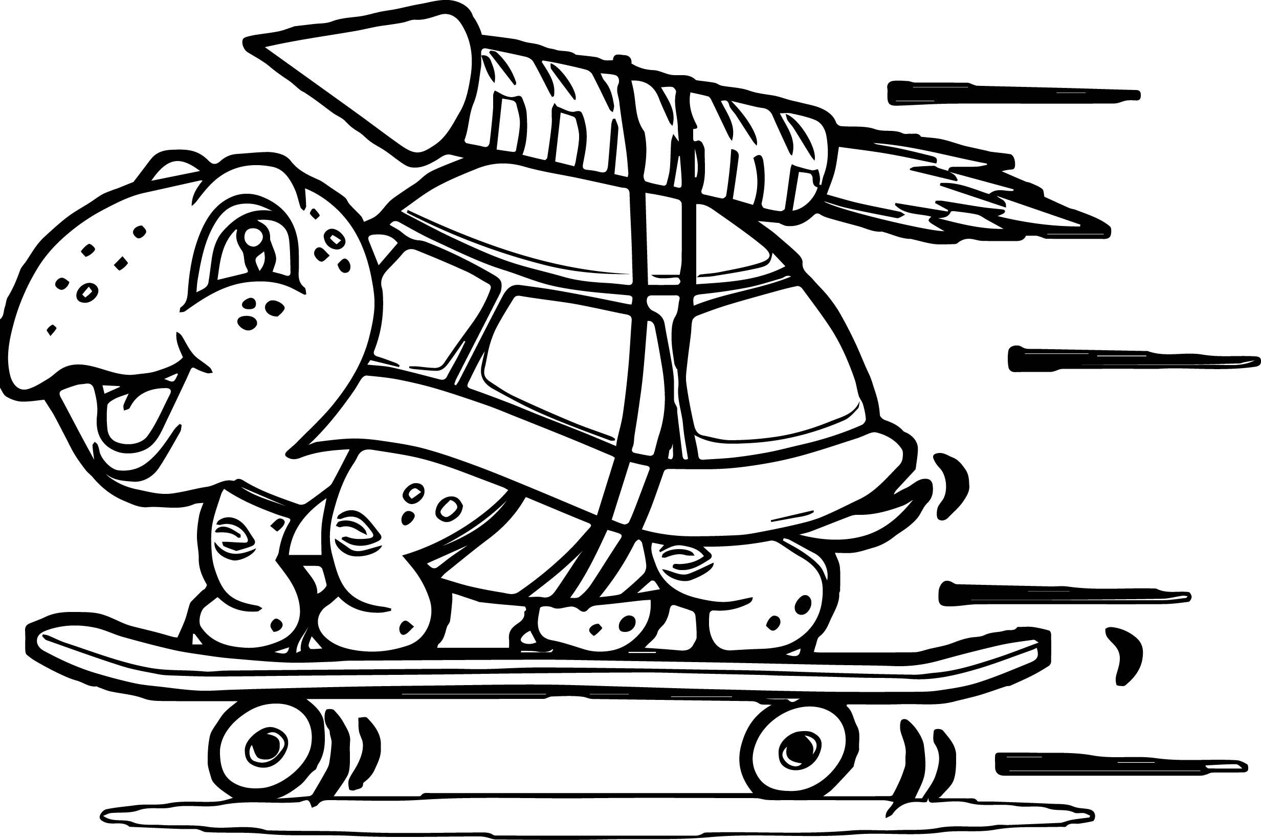 Tortoise Turtle Skate Rocket Coloring Page