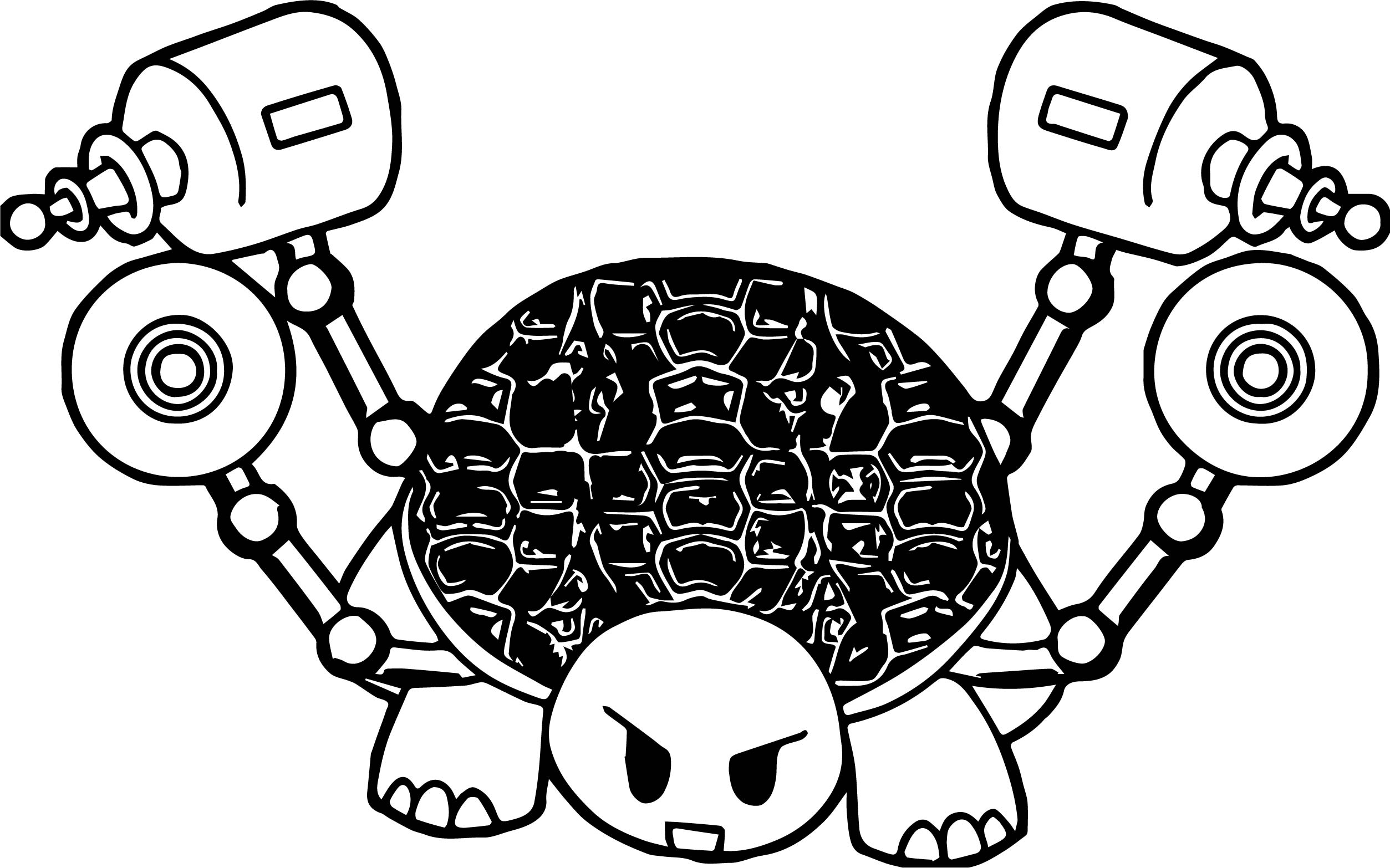 Tortoise Turtle With Gun Coloring Page