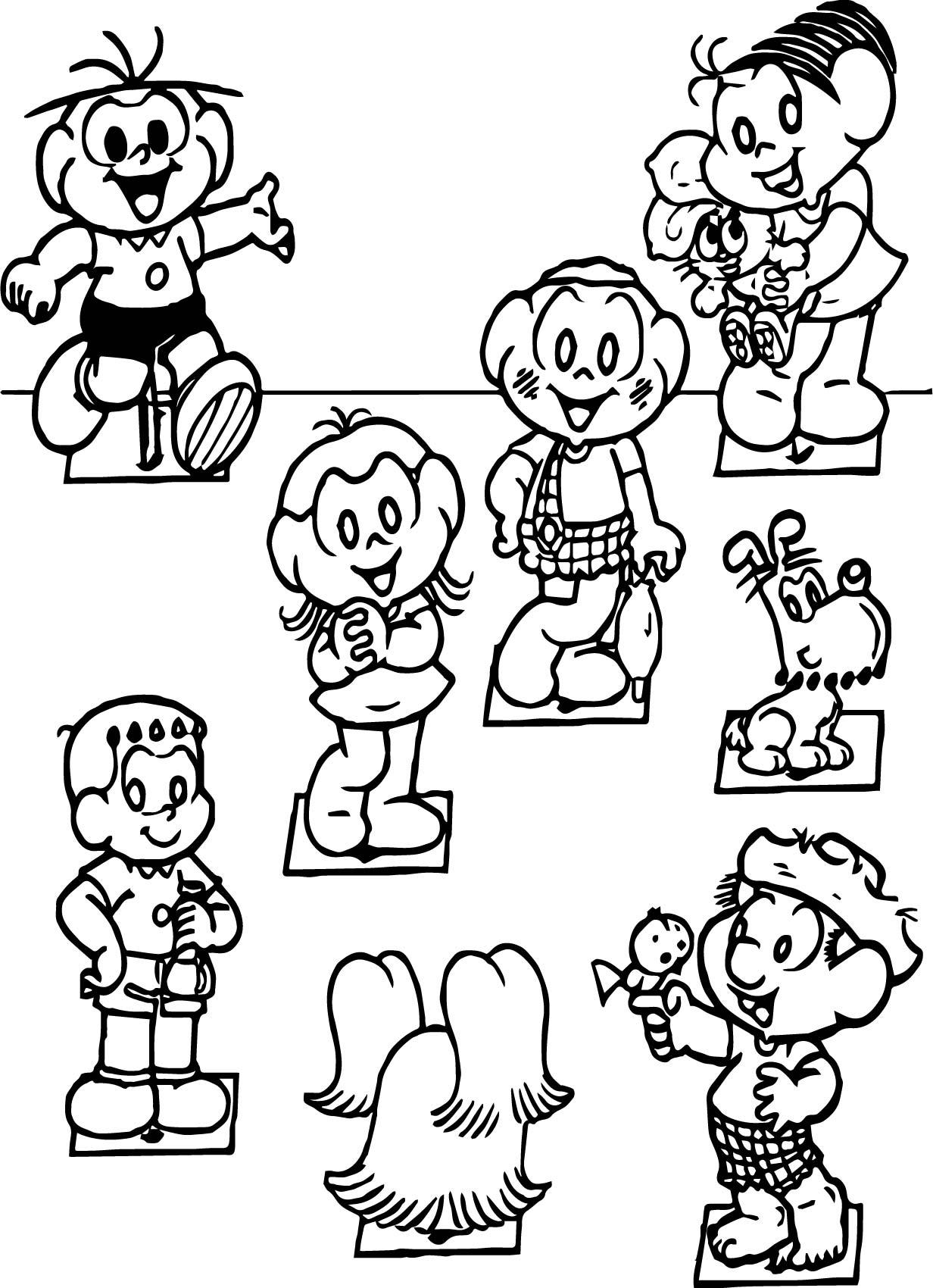Turma Da Monica All Character Coloring Page