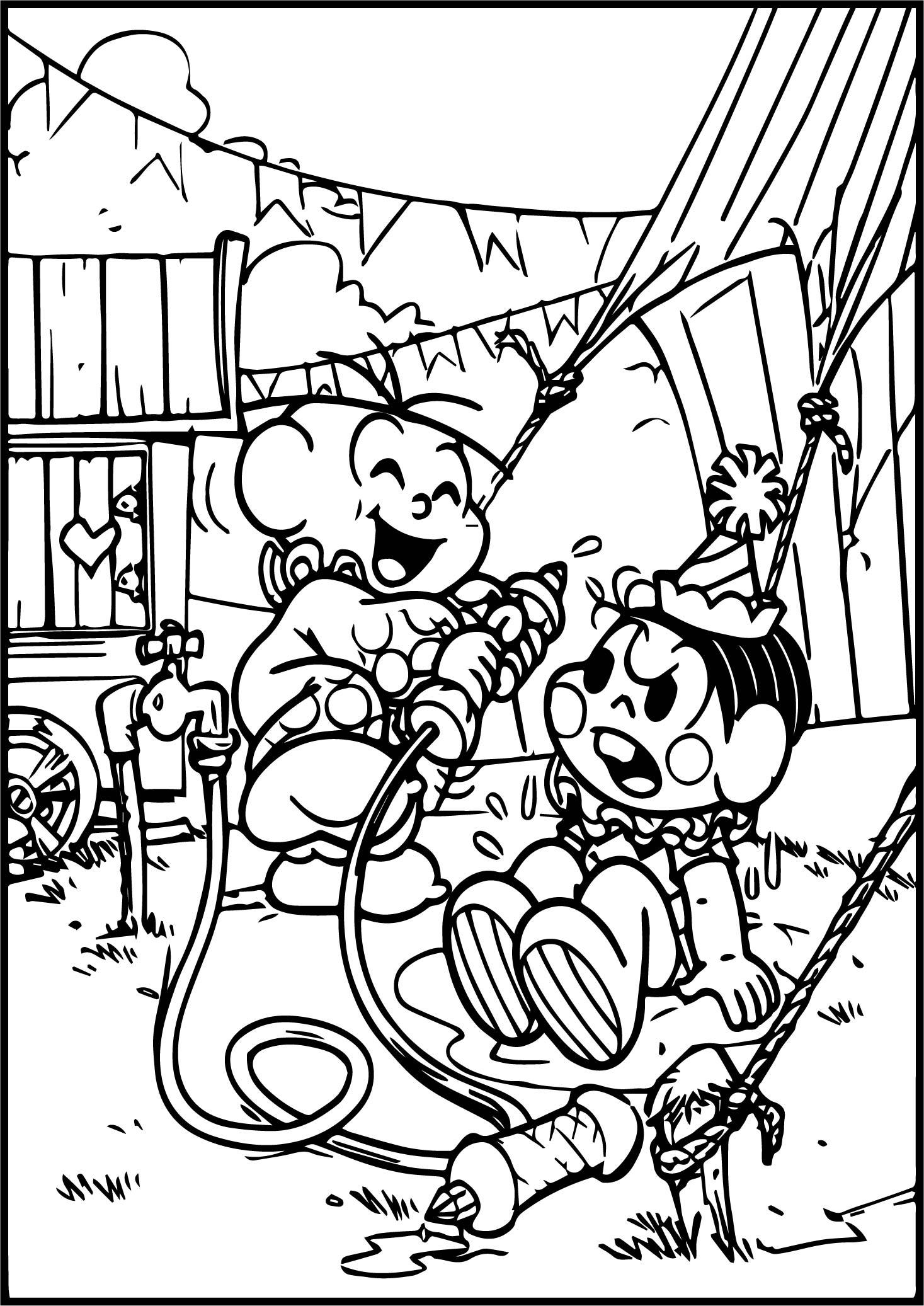 Turma Da Monica And Cascao Circus Joke Coloring Page