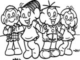 Turma Da Monica And Friends On Grass Coloring Page