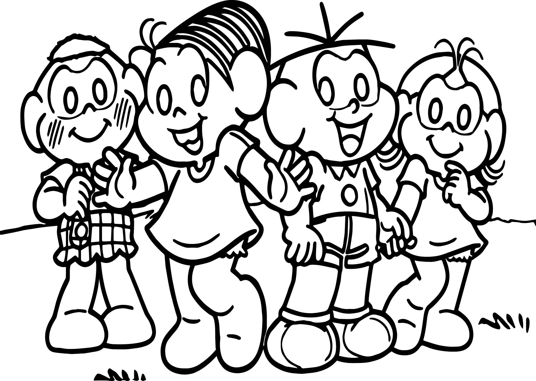 Turma Da Monica And Friends On Grass Coloring Page | Wecoloringpage