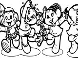 Turma Da Monica And Friends Rain Coloring Page