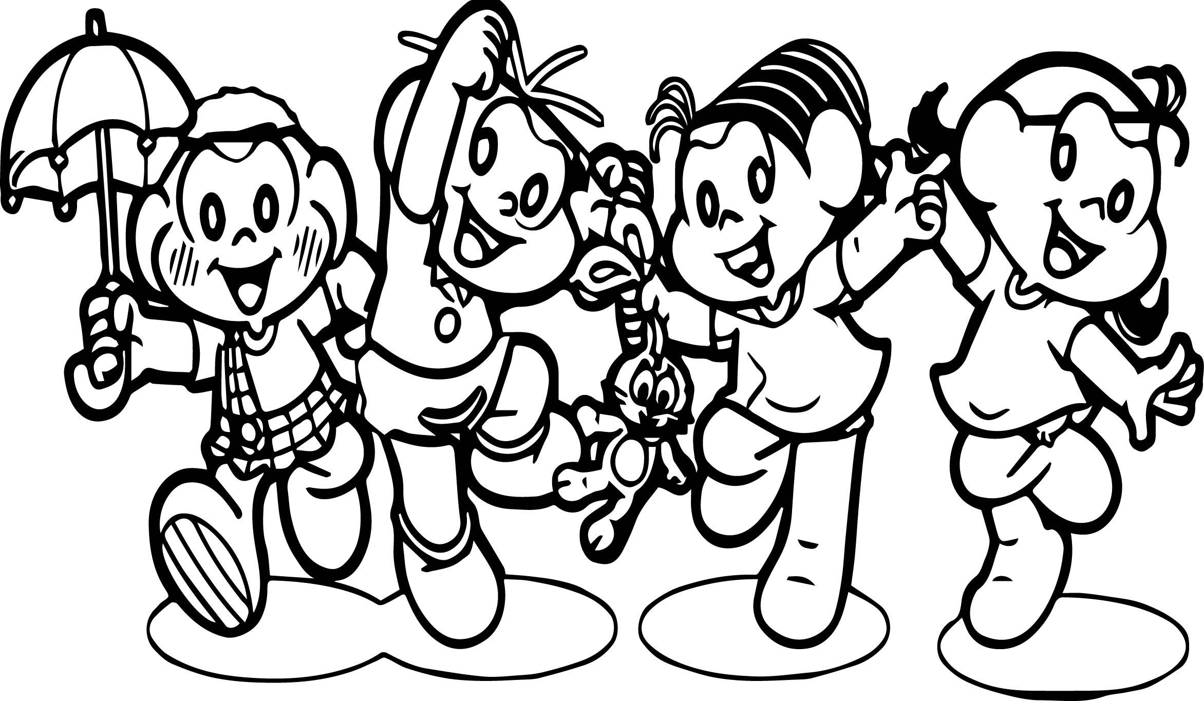 Turma Da Monica And Friends Rain Coloring Page