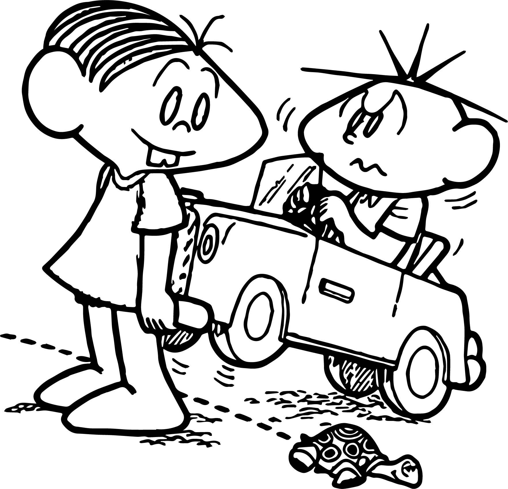 Turma Da Monica And Oscar Driving Car Coloring Page