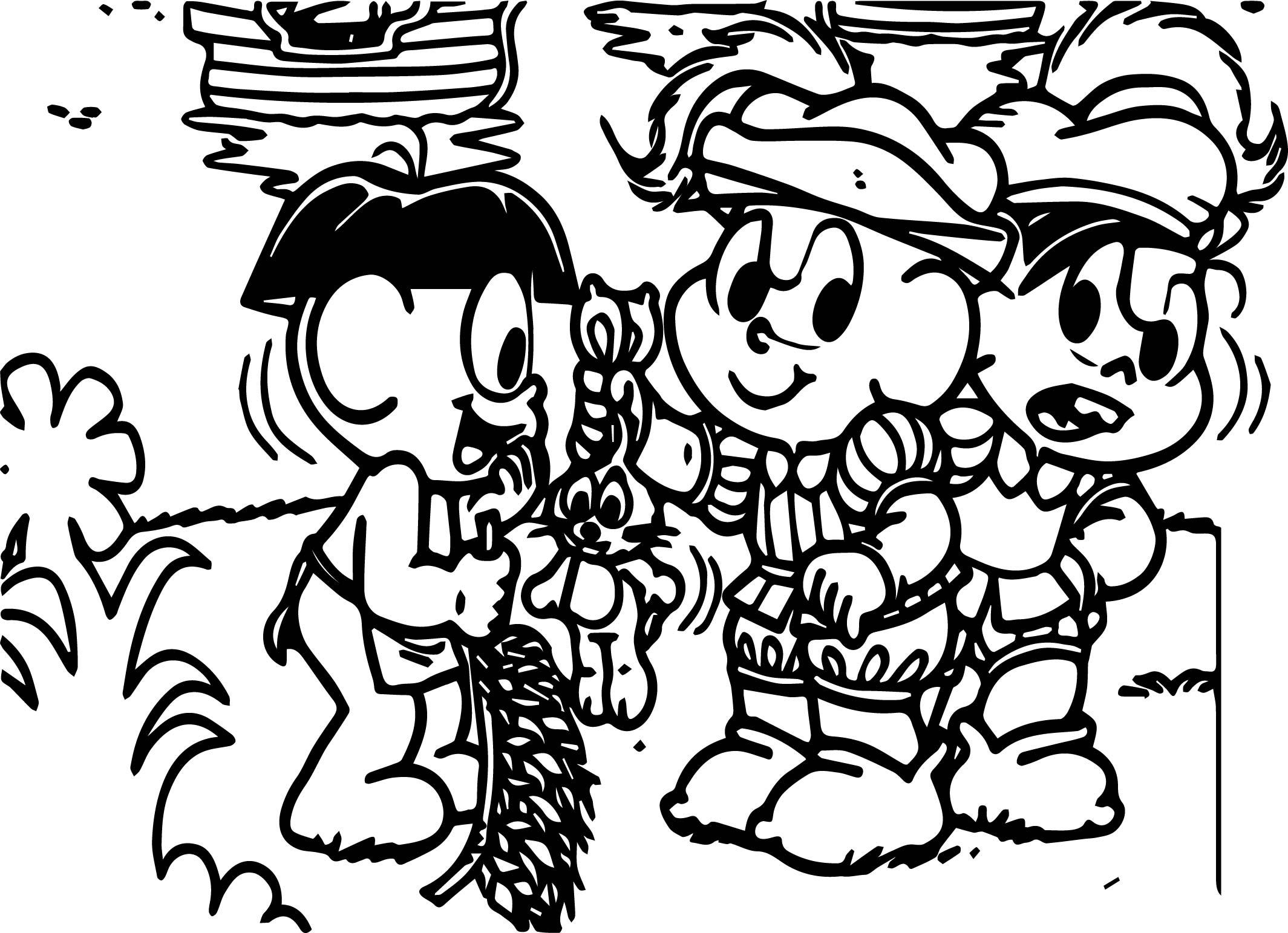 Turma Da Monica Captain Christof Columbus Coloring Page