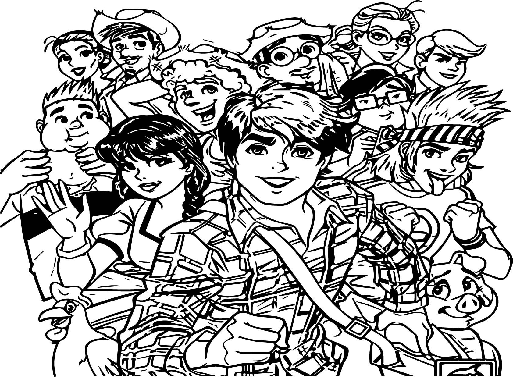 Turma Da Monica Characters Coloring Page