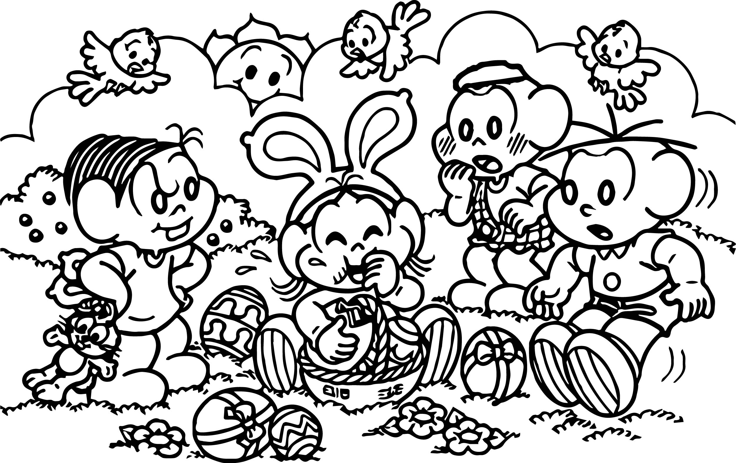 Turma Da Monica Eating Easter Egg Coloring Page