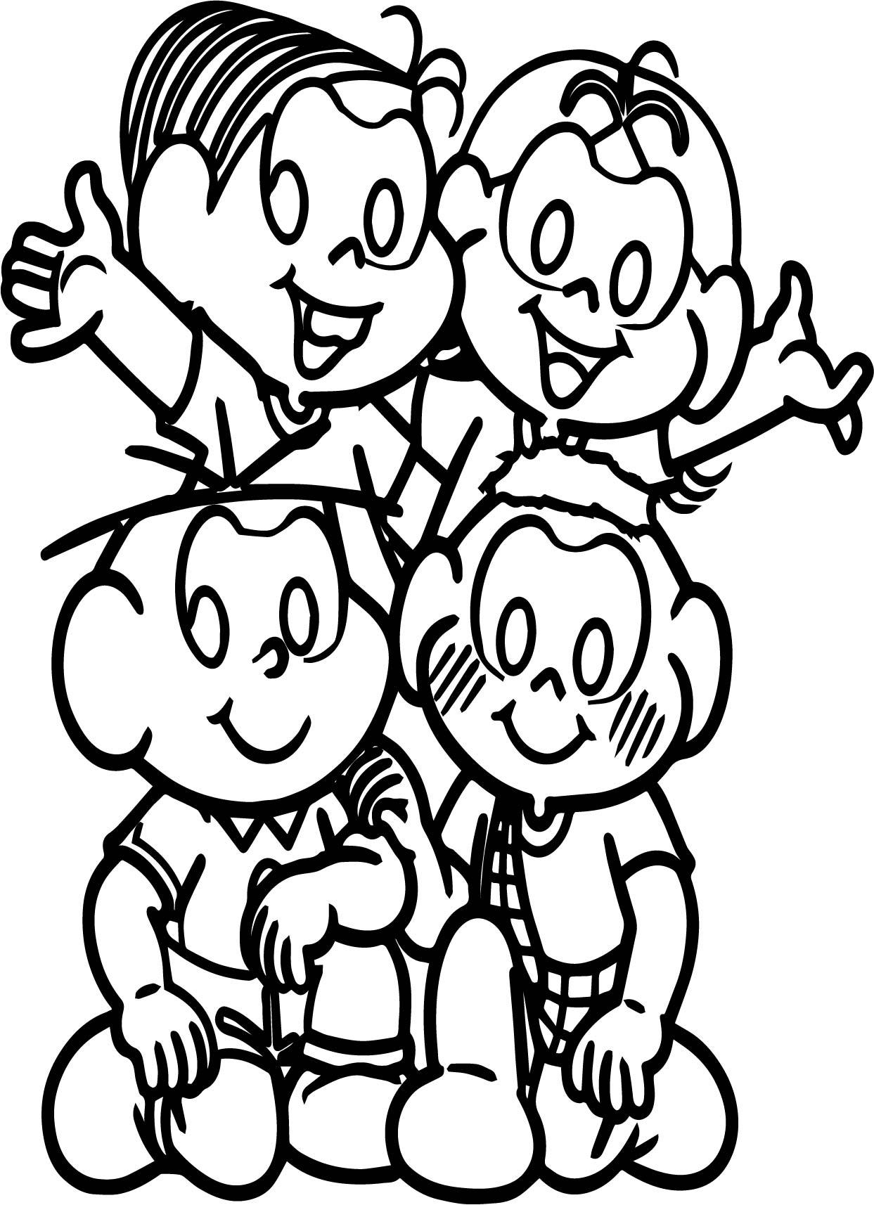 Turma Da Monica Four Kids Coloring Page