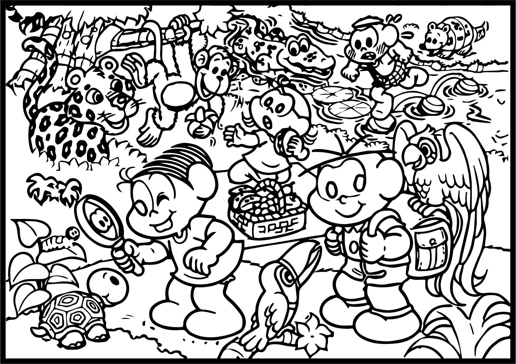 Turma Da Monica Friends And Animals Coloring Page