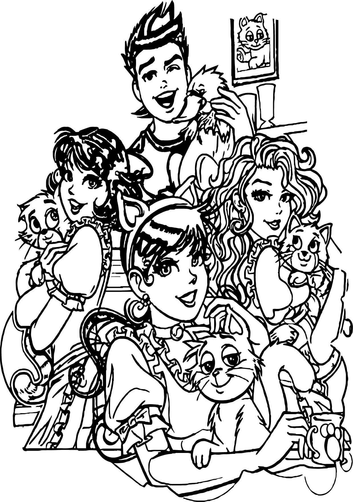 Turma Da Monica Girls And Cats Coloring Page