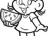 Turma Da Monica Magali Girl Eating Watermelon Coloring Page
