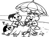 Turma Da Monica Summer Beach Coloring Page