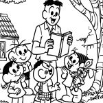 Turma Da Monica Teacher Reading Story Book Coloring Page